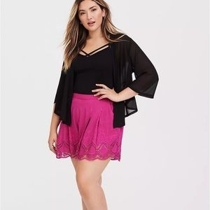 Torrid ROSE PINK SCALLOPED SOFT SHORT Pull On Lace